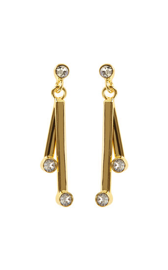 Karen Millen, Tiny Dot Drop earrings Gold Colour 0