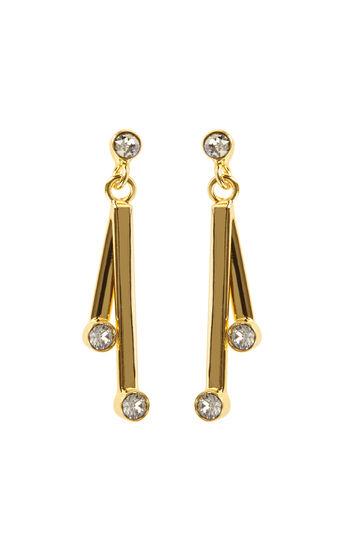Karen Millen, Tiny Dot Drop Earrings Gold Colour 0