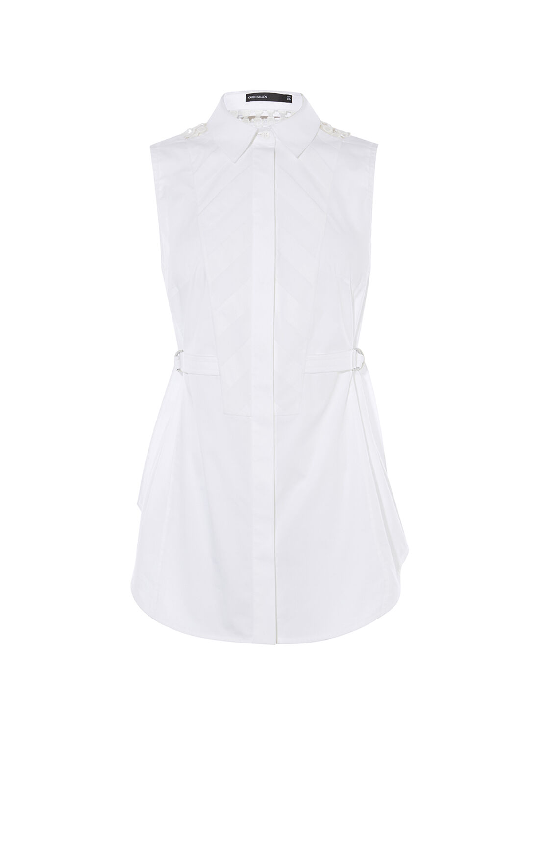 Karen Millen, SLEEVELESS SHIRT White 0