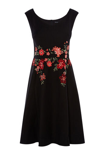 Karen Millen, FLORAL EMBROIDERY DRESS Black/Multi 0