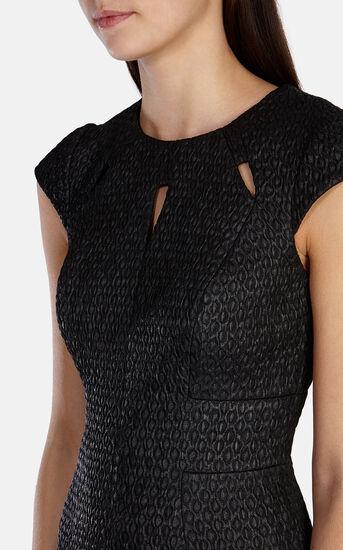 Karen Millen, CUTOUT TEXTURED DRESS Black 4