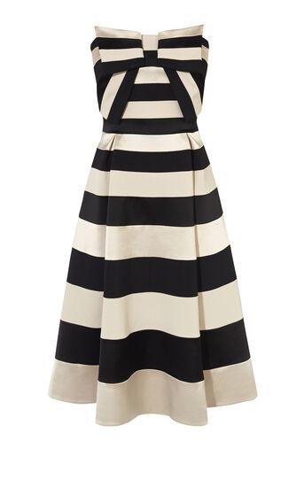 Karen Millen, BOW DETAIL STRIPED DRESS Black/Multi 0
