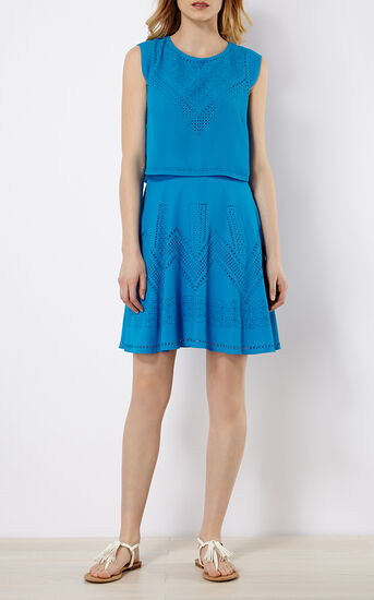 Karen Millen, LASER-CUT DRESS Blue 1