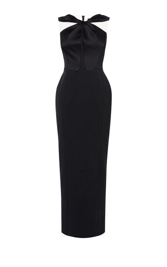 Karen Millen, KNOT-FRONT MAXI DRESS Blk/Multi 0