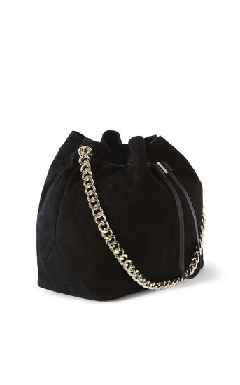 Karen Millen, SUEDE DRAWSTRING BAG Black 3