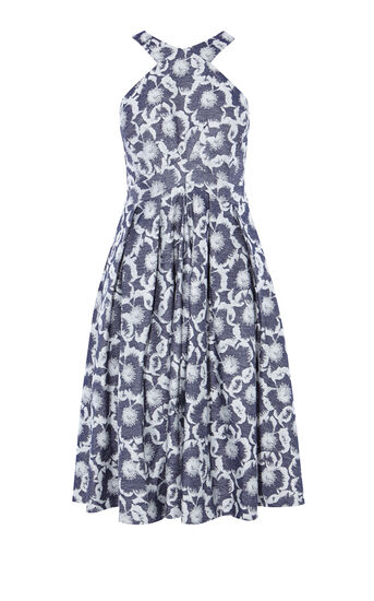 Karen Millen, FLORAL JACQUARD DRESS Blue/Multi 0