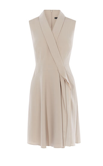 Karen Millen, RUFFLE-FRONT WRAP DRESS Neutral 0
