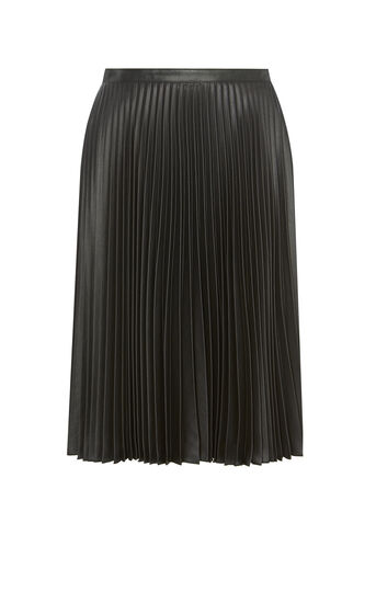 Karen Millen, WETLOOK PLEAT SKIRT Black 0