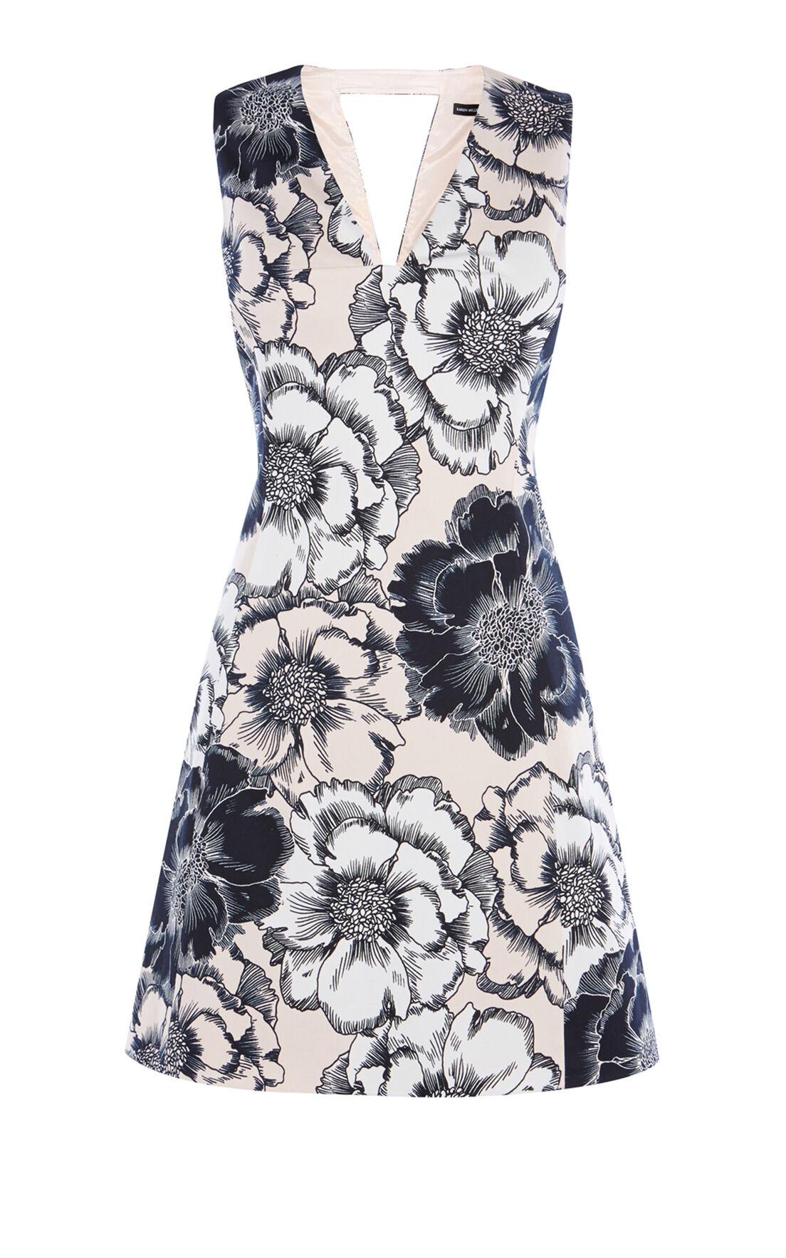 Karen Millen, FLORAL-PRINT COTTON DRESS Multicolour 0