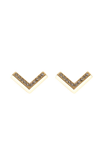 Karen Millen, Angle Crystal Stud Earrings Gold Colour 0