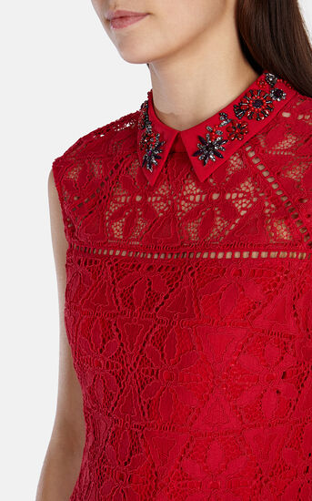 Karen Millen, BEADED-COLLAR LACE DRESS Red 4