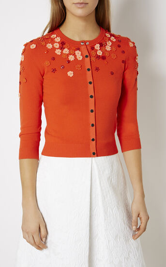 Karen Millen, FLORAL BEADED CARDIGAN Orange 2