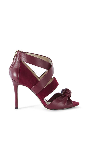 Karen Millen, LEATHER AND SUEDE SANDAL Dark Red 0