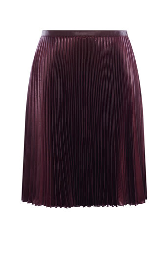 Karen Millen, WETLOOK PLEAT SKIRT Aubergine 0