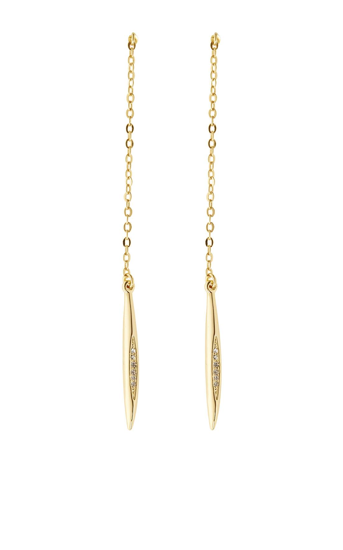 Karen Millen, CRYSTAL CHAIN EARRINGS Gold Colour 0