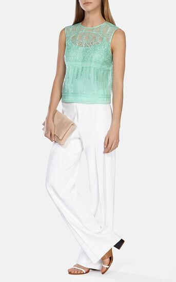 Karen Millen, Lace embroidery organza top Green 1