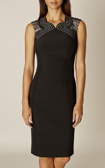 Karen Millen, LACE PANEL DRESS Black/Multi 2