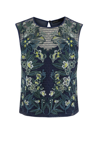 Karen Millen, TROPICAL-EMBROIDERY LACE TOP Blue/Multi 0