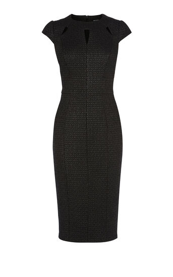 Karen Millen, CUTOUT TEXTURED DRESS Black 0