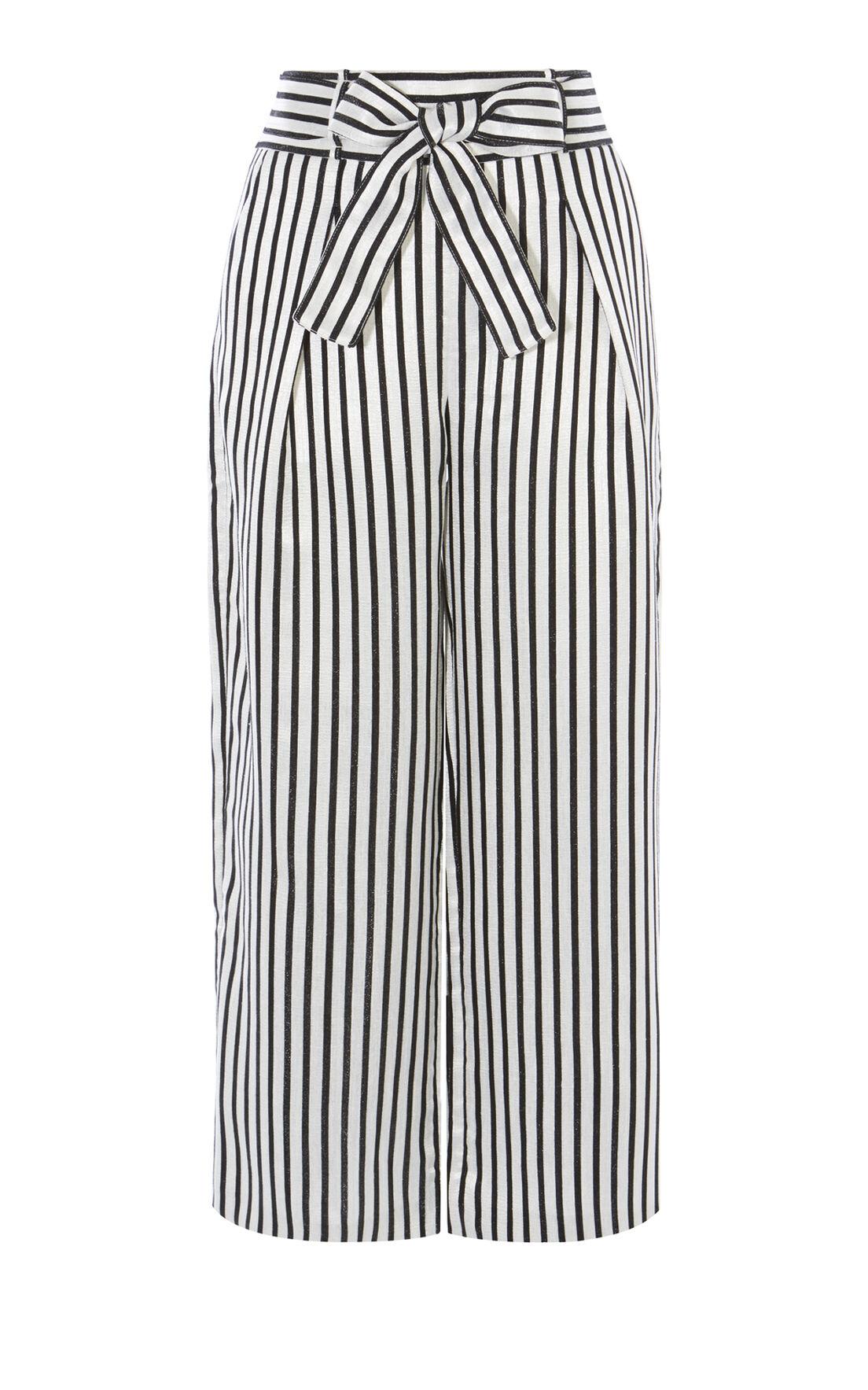 Karen Millen, STRIPED TROUSER Black & White 0