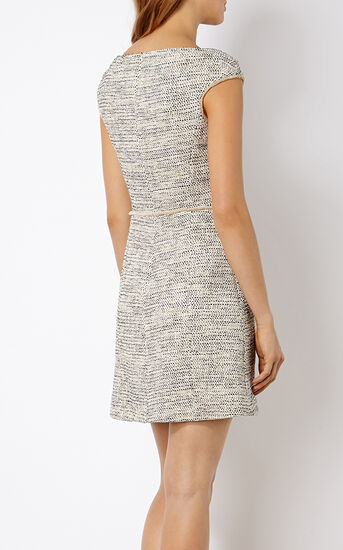 Karen Millen, BOUCLÉ TWEED SHIFT DRESS Blk&Wht 3