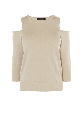 Karen Millen, COLD-SHOULDER KNIT JUMPER Gold 0