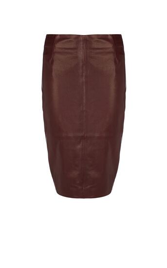 Karen Millen, LEATHER PENCIL SKIRT Aubergine 0