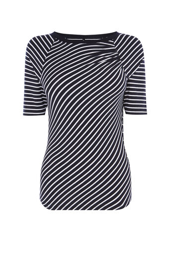 Karen Millen, GATHERED SHOULDER STRIPE TOP Blue/Multi 0