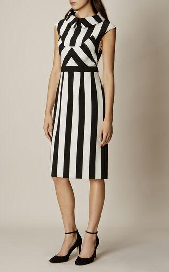 Karen Millen, MULTI-STRIPE DRESS Black & White 1