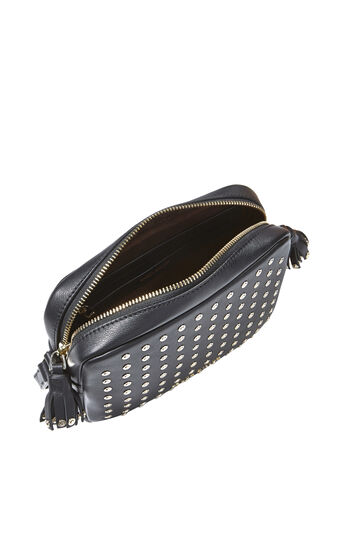 Karen Millen, LEATHER STUD CAMERA BAG Black 4