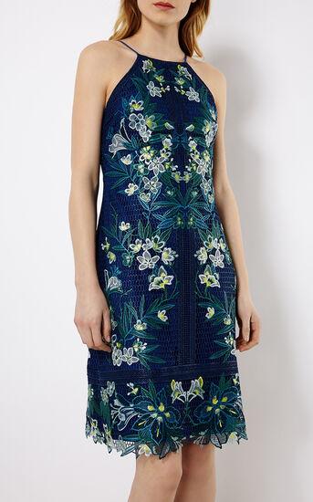 Karen Millen, TROPICAL-EMBROIDERY LACE DRESS Blue/Multi 2