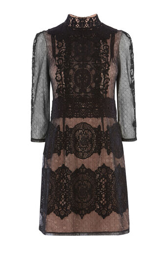 Karen Millen, BLACK VINTAGE LACE MINI DRESS Black 0