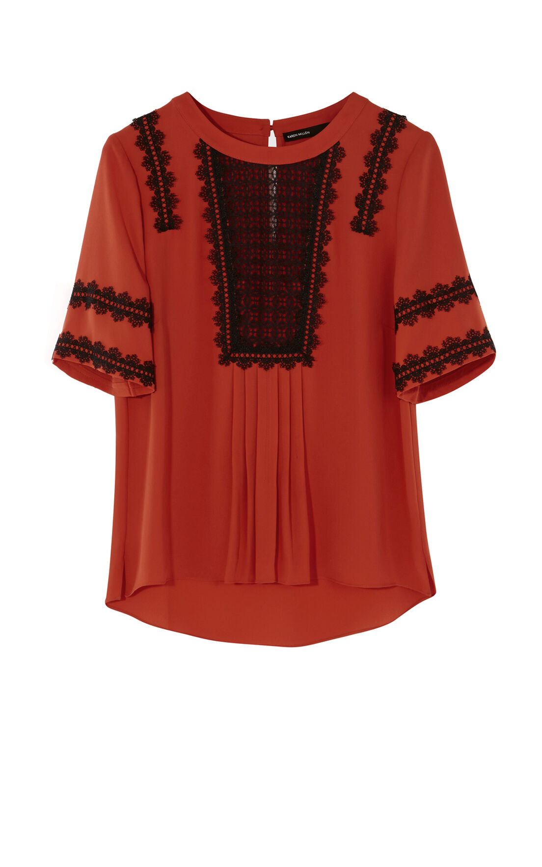 Karen Millen, APPLIQUÉ BLOUSE Red/Multi 0