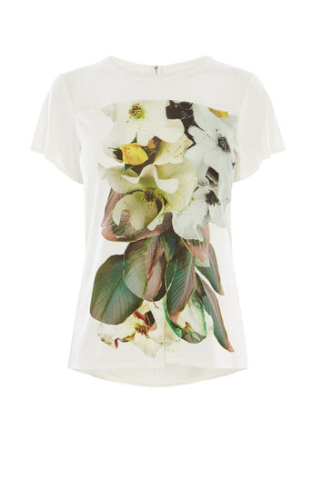 Karen Millen, WILD ROSE T-SHIRT White/Multi 0