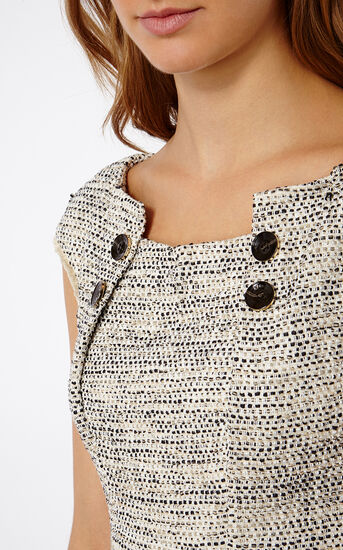 Karen Millen, BOUCLÉ TWEED SHIFT DRESS Blk&Wht 4
