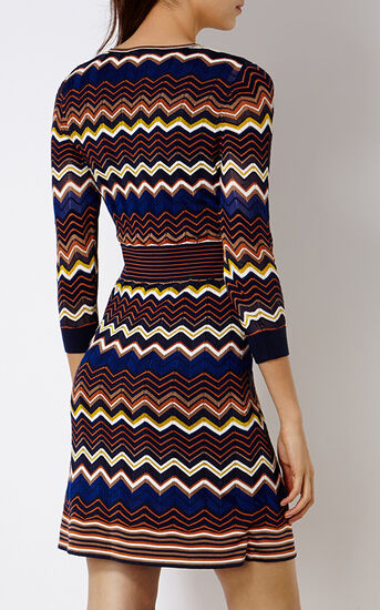 Karen Millen, ZIGZAG KNIT DRESS Multi 3
