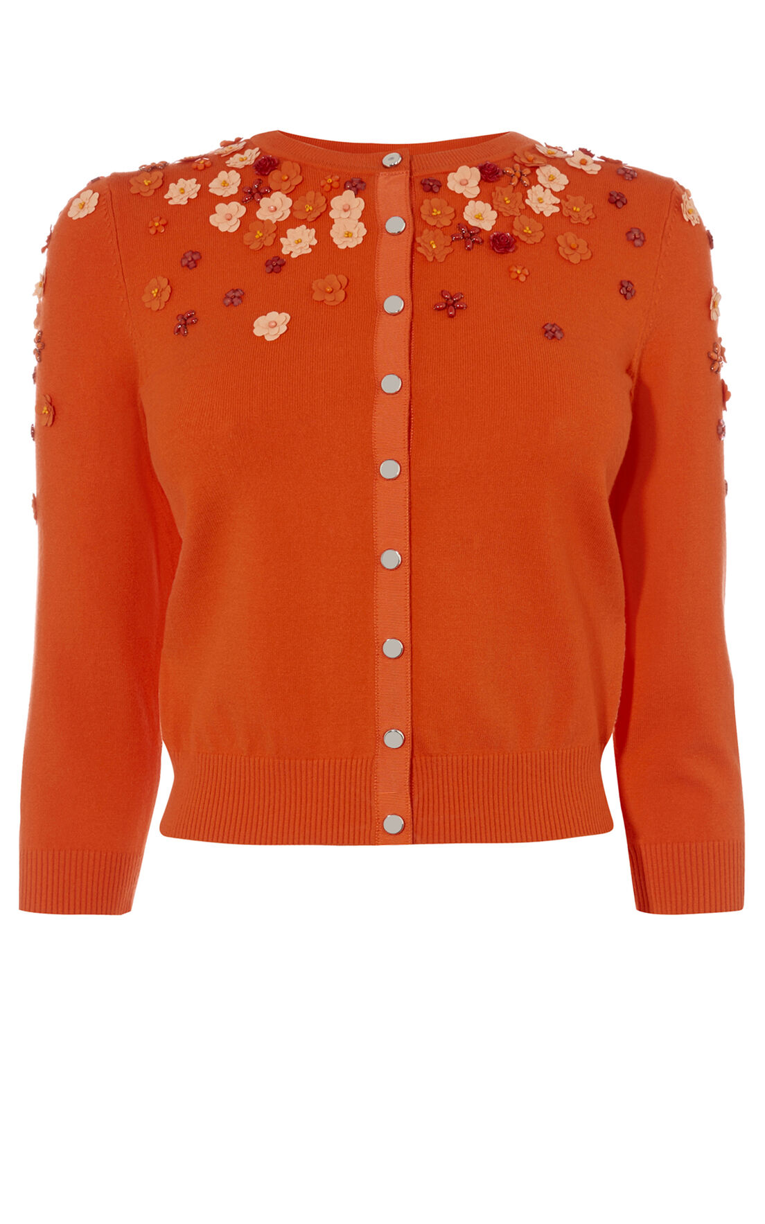 Karen Millen, FLORAL BEADED CARDIGAN Orange 0