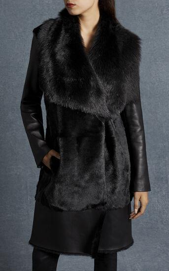 Karen Millen, BLACK SHEARLING COAT Black 3