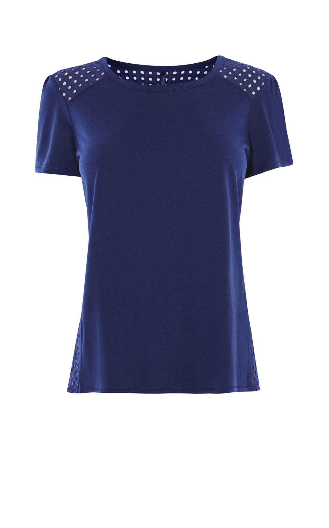 Karen Millen, BRODERIE-PANELLED T-SHIRT Blue 0