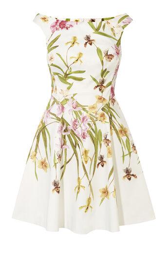 Karen Millen, LILY-PRINT COTTON DRESS Multicolour 0