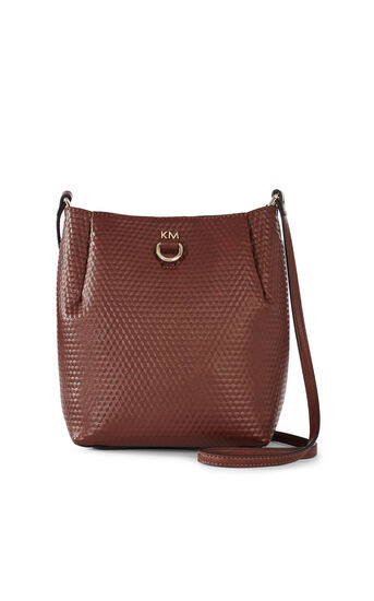 Karen Millen, EMBOSSED SQUARE BAG Brown 0