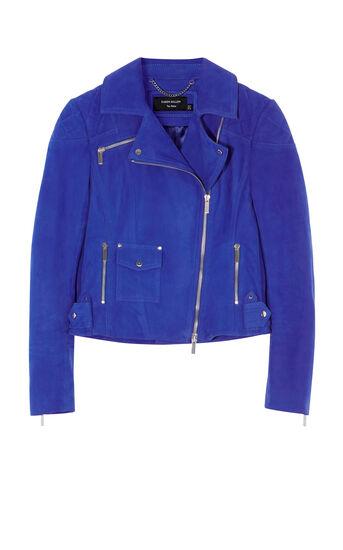 Karen Millen, COBALT-BLUE SUEDE BIKER JACKET Blue 0