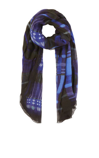 Karen Millen, WATERCOLOUR CHECK SCARF Blue/Multi 0