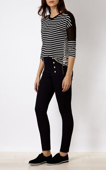 Karen Millen, BUTTON-DETAIL LEGGING Dark Denim 1