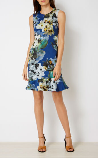 Karen Millen, FLORAL SCUBA DRESS Blue/Multi 1