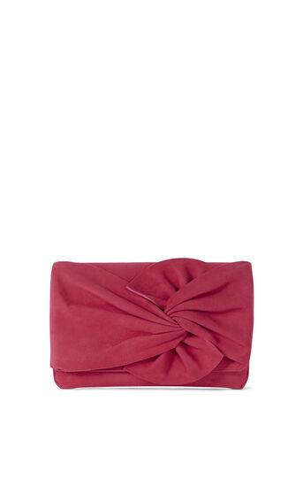 Karen Millen, SUEDE BOW CLUTCH Pink 0