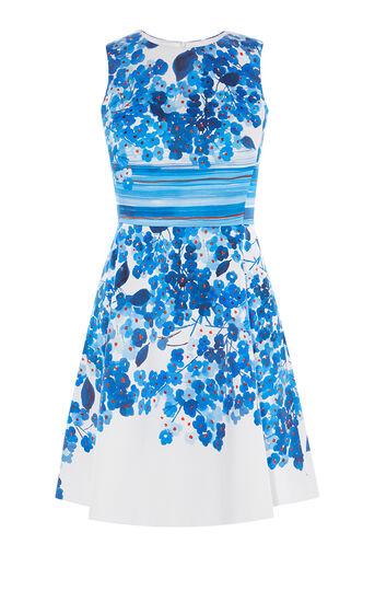 Karen Millen, FLORAL-PRINT MINIDRESS Blue/Multi 0