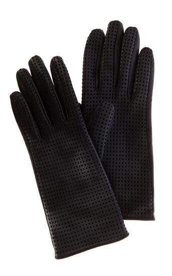 Karen Millen, Punched leather glove Black 0