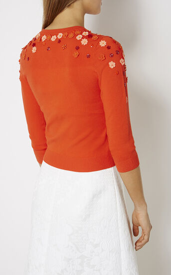 Karen Millen, FLORAL BEADED CARDIGAN Orange 3