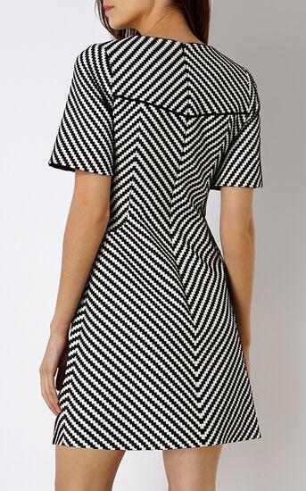 Karen Millen, ZIG ZAG STRIPE DRESS Blk&Wht 3